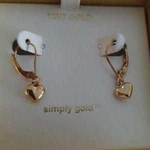 10k gold drop dangle heart Earrings